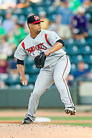 Carolina Mudcats starting pitcher Joseph Colon (29) in action against the Winston-Salem Dash at BB&T Ballpark on July 25, 2013 in Winston-Salem, North Carolina.  The Mudcats defeated the Dash 5-4.  (Brian Westerholt/Four Seam Images)