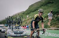 Michael Hepburn (AUS/Mitchelton Scott) is the last rider up the brutal Col du Portet (HC/2250m/16km at 8.7%/Souvenir Henri Desgrange) in this historically short stage (only 65km)<br /> <br /> Stage 17: Bagnères-de-Luchon > Saint-Lary-Soulan (65km)<br /> <br /> 105th Tour de France 2018<br /> ©kramon
