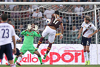 ROME, Italy - September 29, 2013: Roma beats Bologna 5-0 during the Serie A match in Olimpico Stadium. In the photo Mehdi Benatia scoring the goal of 3-0