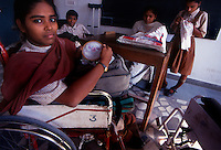Delhi /  India.Young women in a rehabilitation centre for disabled people.Photo Livio Senigalliesi.