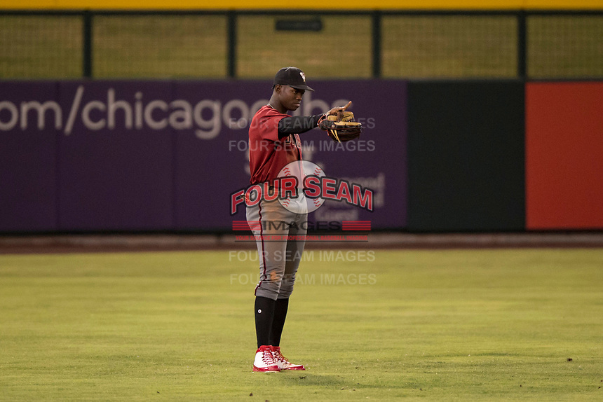 AZL Diamondbacks center fielder Kristian Robinson (10) during an Arizona League game against the AZL Cubs 1 at Sloan Park on June 18, 2018 in Mesa, Arizona. AZL Diamondbacks defeated AZL Cubs 1 7-0. (Zachary Lucy/Four Seam Images)