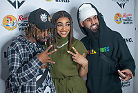 LOS ANGELES - APRIL 8:  To$ha, Mariana Velletto, and Dan Ru at Mariana Velletto Listening Event inside Kevin Hart's HartBeat Studios in Los Angeles, CA on April 8, 2021. (Photo by Adrian Sidney/PictureGroup)