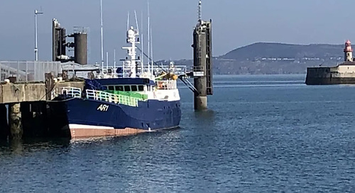 An Irish tug boat brought the drifting trawler to Dún Laoghaire Harbour
