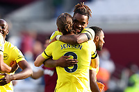 3rd October 2021;   City of London Stadium, London, England; EPL Premier League football, West Ham versus Brentford; Ivan Toney of Brentford celebrates the 1-2 win with Mathias Jensen