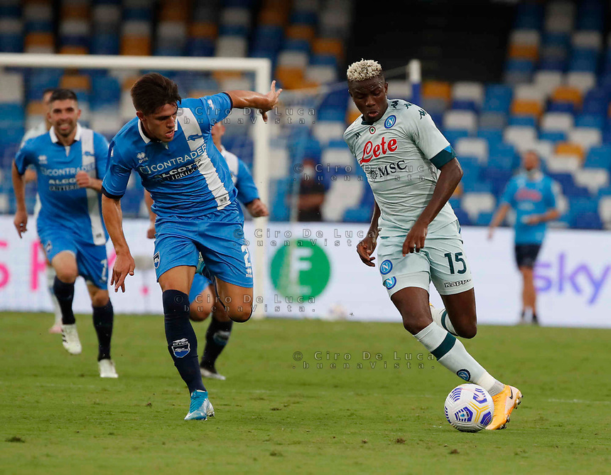 Victor Osimhen during a friendly match Napoli - Pescara  at Stadio San Paoli in Naples