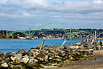 Yaquina Bay Bridge seen from South Jetty, Newport, Oregon is an example of the famous bridge architecture along U.S 101 on the Oregon Coast.