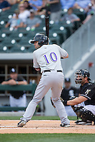 Ryan LaMarre (10) of the Louisville Bats at bat against the Charlotte Knights at BB&T BallPark on May 12, 2015 in Charlotte, North Carolina.  The Knights defeated the Bats 4-0.  (Brian Westerholt/Four Seam Images)