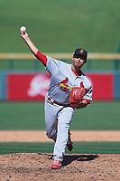 Surprise Saguaros relief pitcher Arturo Reyes (22), of the St. Louis Cardinals organization, delivers a pitch to the plate during a game against the Surprise Saguaros on October 20, 2017 at Sloan Park in Mesa, Arizona. The Solar Sox walked-off the Saguaros 7-6.  (Zachary Lucy/Four Seam Images)