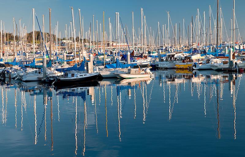 Sailboats in harbor. Fishermans Warf. Monterey Bay, Californmia