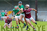 Anthony Fealy, Causeway in action against Jack O'Sullivan, Ballyduff, in the Senior Kerry Hurling Championship at Austin Stack Park on Sunday.