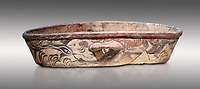 Theran Minoan polychrome kymbe with dolphin decorations, Akrotiri, Thira (Santorini) National Archaeological Museum Athens. 17th-16th cent BC.<br /> <br /> The kymbe is a typical Theran Minoan elongated vessel whose use is unknown.