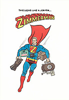 Illustration of John G. Zimmerman as Superman by Campbell-Mithun Art Director Cy DeCosse, 1965. Zimmerman did a series of national TV commercials and print ads for Hamm's Beer in 1965 for the agency.