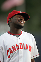 July 11 2009: Rashun Dixon of the Vancouver Canadians before game against the Boise Hawks at Nat Bailey Stadium in Vancouver,BC..Photo by Larry Goren/Four Seam Images