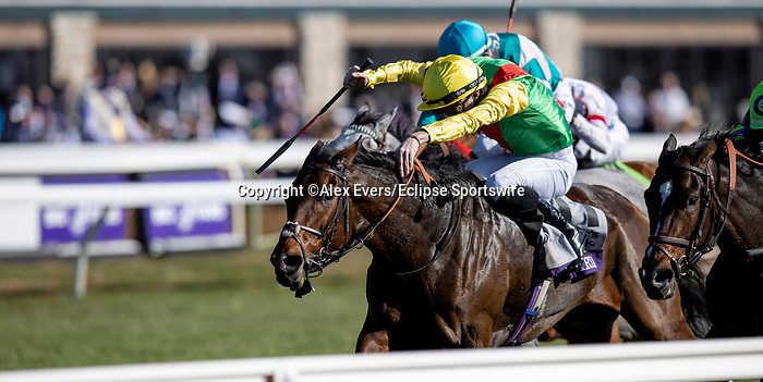 November 7, 2020 : Audarya, ridden by Pierre-Charles Boudot, wins the Maker's Mark Filly & Mare Turf on Breeders' Cup Championship Saturday at Keeneland Race Course in Lexington, Kentucky on November 7, 2020. Alex Evers/Breeders' Cup/Eclipse Sportswire/CSM