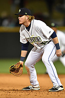 First Baseman Dash Winningham (34) of the Columbia Fireflies in a game against the Augusta GreenJackets on Opening Day, Thursday, April 6, 2017, at Spirit Communications Park in Columbia, South Carolina. Columbia won, 14-7. (Tom Priddy/Four Seam Images)