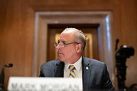 """Acting U.S. Customs and Border Protection (CBP) Commissioner Mark Morgan testifies at the US Senate Homeland Security and Governmental Affairs hearing titled """"CBP Oversight: Examining the Evolving Challenges Facing the Agency,"""" in Dirksen Senate Office Building on Thursday, June 25, 2020.  <br /> Credit: Alexander Drago / Pool via CNP/AdMedia"""