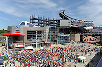 Fans enter Gillette Stadium prior to the start of the game. The men's national team of Spain (ESP) defeated the United States (USA) 4-0 during a International friendly at Gillette Stadium in Foxborough, MA, on June 04, 2011.