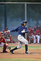 Daniel Leonardo (7) of the AZL Brewers bats during a game against the AZL Reds at Cincinnati Reds Spring Training Complex on July 5, 2015 in Goodyear, Arizona. Reds defeated the Brewers, 9-4. (Larry Goren/Four Seam Images)