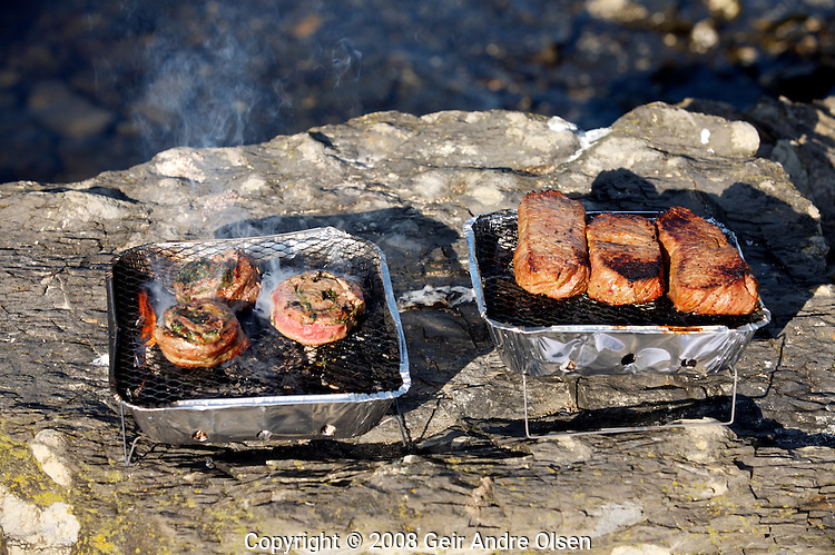 Barbeque at a boattrip in Oslofjorden, just outside Oslo, Norway