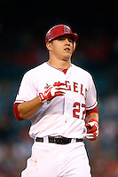 Mike Trout #27 of the Los Angeles Angels runs the bases during a game against the Chicago White Sox at Angel Stadium on September 22, 2012 in Anaheim, California. Los Angeles defeated Chicago 4-2. (Larry Goren/Four Seam Images)