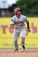 Auburn Doubledays catcher Raudy Read (29) running the bases during a game against the Batavia Muckdogs on August 31, 2014 at Dwyer Stadium in Batavia, New York.  Batavia defeated Auburn 7-6.  (Mike Janes/Four Seam Images)