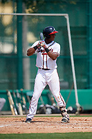 GCL Braves third baseman Darling Florentino (22) at bat during the first game of a doubleheader against the GCL Yankees West on July 30, 2018 at Champion Stadium in Kissimmee, Florida.  GCL Yankees West defeated GCL Braves 7-5.  (Mike Janes/Four Seam Images)
