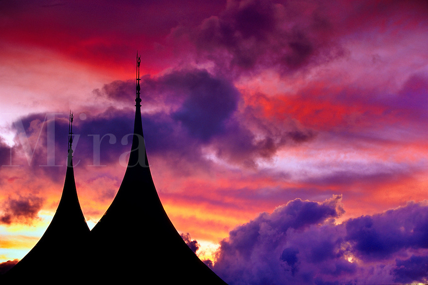 Silhouette view of King Adityawarman s Palace at sunset Sumatra Indonesia.