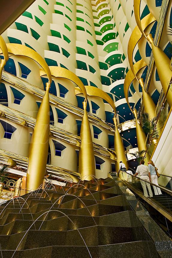 Dubai, United Arab Emirates. Interior of Burj al Arab Hotel at Jumeira Beach designed by Thomas Wills Wright, architect, of W. S. Atkins.