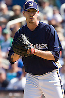March 13, 2010 - Milwaukee Brewers' John Axford (#59) during a spring training game against the Colorado Rockies at Maryvale Baseball Park in Maryvale, Arizona.