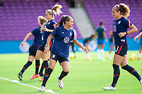 ORLANDO CITY, FL - FEBRUARY 21: Sophia Smith #17 of the USWNT warms up before a game between Brazil and USWNT at Exploria Stadium on February 21, 2021 in Orlando City, Florida.