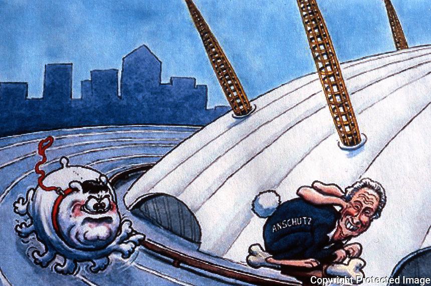 London: Steve Bell Cartoon--7/6/2006. Deputy PM John Prescott pursuing Philip Anschutz.   Reference only.