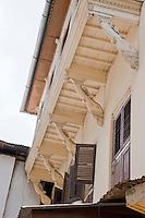 Zanzibar, Tanzania.  South Asian architectural influence--elephant heads support upper balcony.