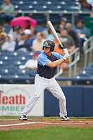 Trenton Thunder center fielder Jeff Hendrix (17) at bat during a game against the New Hampshire Fisher Cats on August 19, 2018 at ARM & HAMMER Park in Trenton, New Jersey.  New Hampshire defeated Trenton 12-1.  (Mike Janes/Four Seam Images)