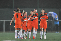 20131017 - GLASGOW , SCOTLAND :  Glasgow pictured celebrating their 1-0 lead against Standard during the female soccer match between GLASGOW City Ladies FC and STANDARD Femina de Liege , in the 1/16 final ( round of 32 ) second leg in the UEFA Women's Champions League 2013 in Petershill Park in Glasgow. First leg ended in a 2-2 draw . Thursday 17 October 2013. PHOTO DAVID CATRY