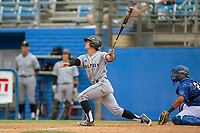 Cal Poly San Luis Obispo Mustangs Bradlee Beesley (5) follows through on his swing against the UC-Riverside Highlanders at Riverside Sports Complex on May 26, 2018 in Riverside, California. The Cal Poly SLO Mustangs defeated the UC Riverside Highlanders 6-5. (Donn Parris/Four Seam Images)