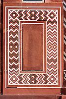 Agra, India.  Taj Mahal.  Stone Design on the Gateway Entrance opening to the Taj and its Gardens.