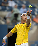 Ricardas Berankis (LTU) loses to Novak Djokovic (SRB)  6-1, 6-2, 7-5 at the US Open being played at USTA Billie Jean King National Tennis Center in Flushing, NY on August 27, 2013