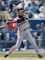 Tsuyoshi Shinjo of the San Francisco Giants bats during a 2002 MLB season game against the Los Angeles Dodgers at Dodger Stadium, in Los Angeles, California. (Larry Goren/Four Seam Images)