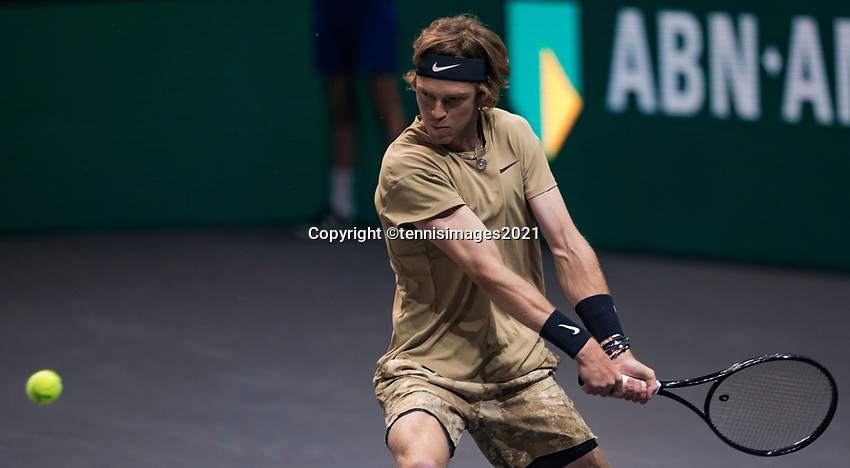 Rotterdam, The Netherlands, 2 march  2021, ABNAMRO World Tennis Tournament, Ahoy, First round match: Andrey Rublev (RUS).<br /> Photo: www.tennisimages.com/henkkoster