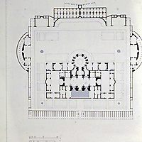 Floor plans of the Baths of Caracalla. The  baths consisted of a massive series of rooms that covered over 26 acres in the outskirts of the early 3rd Century AD Rome.