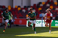 24th April 2021; Brentford Community Stadium, London, England; Gallagher Premiership Rugby, London Irish versus Harlequins; Ben Loader of London Irish breaks with the ball