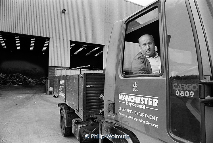Manchester City Council Cleansing Department delivery driver, City Council refuse incinerator, Salford.