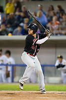 Richard Stock (25) of the New Jersey Jackals at bat against the Sussex County Miners at Skylands Stadium on July 29, 2017 in Augusta, New Jersey.  The Miners defeated the Jackals 7-0.  (Brian Westerholt/Four Seam Images)