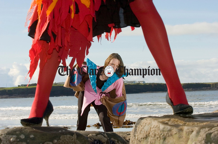 3rd year Spanish Point Secondary school pupil Grace Duffy modelling an outfit on the beach in preparation for their fashion show in aid of the school fund and charity which takes place on 13th October in the Armada Hotel. Photograph by John Kelly.