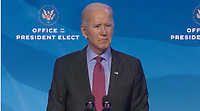 """United States President-elect Joe Biden takes questions from the press after making remarks introducing """"key members of his economic and jobs team"""" from the Queen Theatre in Wilmington, Delaware on Friday, January 8, 2021. <br /> Credit: Biden Transition TV via CNP /MediaPunch<br /> CAP/MPI/RS<br /> ©RS/MPI/Capital Pictures"""