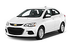 2017 Chevrolet Sonic LT 4 Door Sedan Angular Front stock photos of front three quarter view