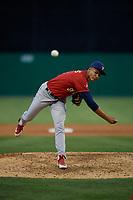 State College Spikes pitcher Leonardo Taveras (41) during a NY-Penn League game against the Batavia Muckdogs on July 2, 2019 at Dwyer Stadium in Batavia, New York.  Batavia defeated State College 1-0.  (Mike Janes/Four Seam Images)