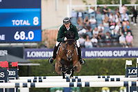 3rd October 2021;  Real Club de Polo, Barcelona, Spain; CSIO5 Longines FEI Jumping Nations Cup Final 2021; Michael Duffy from Ireland during the FEI Jumping Nations Cup Final 2021