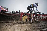 rainbow splashing by Wout Van Aert (BEL/Crelan-Willems)<br /> <br /> elite man's race<br /> CX Superprestige Noordzeecross <br /> Middelkerke / Belgium 2017