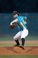 Mooresville Spinners relief pitcher Andrew Dye (27) (Lenoir Rhyne) in action against the Concord A's at Moor Park on July 31, 2020 in Mooresville, NC. The Spinners defeated the Athletics 6-3 in a game called after 6 innings due to rain. (Brian Westerholt/Four Seam Images)